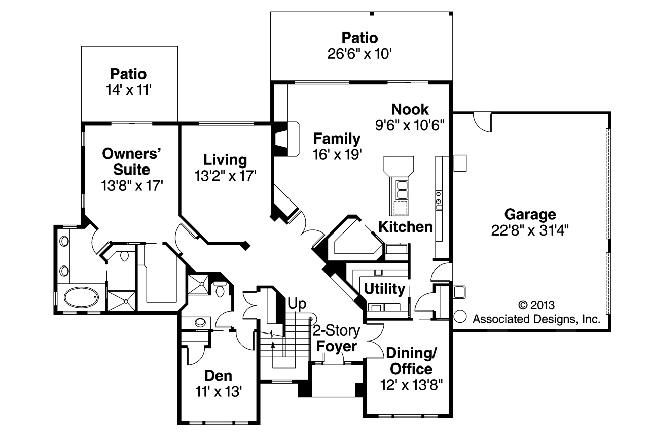 Traditional house plans bloomsburg 30 667 associated for Traditional open floor plans