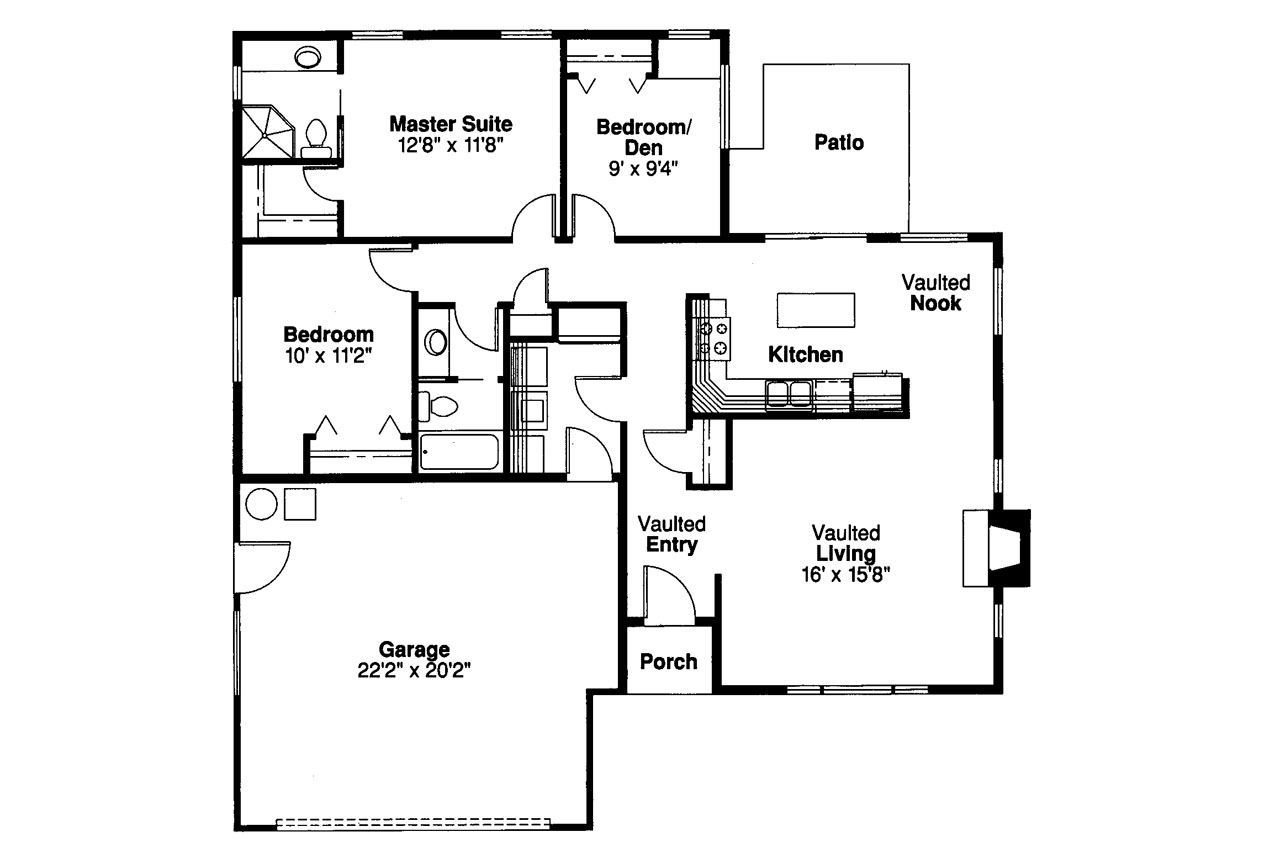 Traditional house plans norden 10 216 associated designs for Traditional floor plans