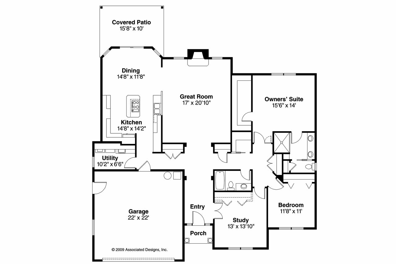 Traditional house plans porterville 30 695 associated for Traditional open floor plans