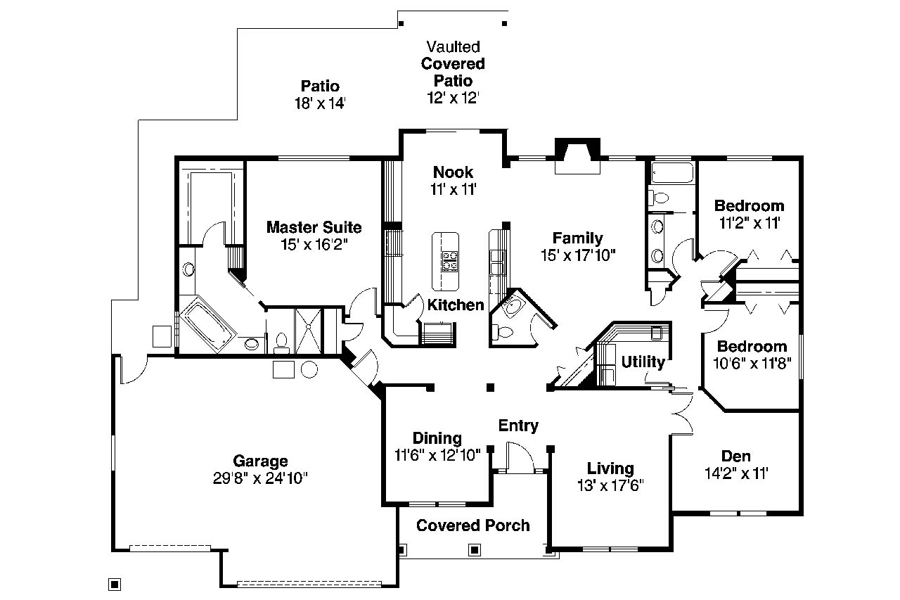 Traditional house plans spencer 30 537 associated designs for Traditional floor plans