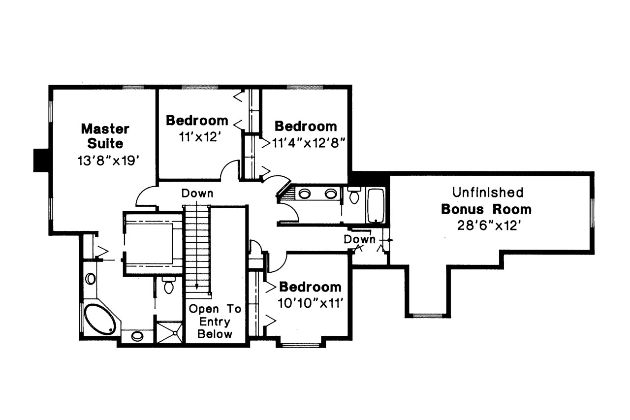Tudor House Plan   Livingston 30 046   2nd Floor Plan ...