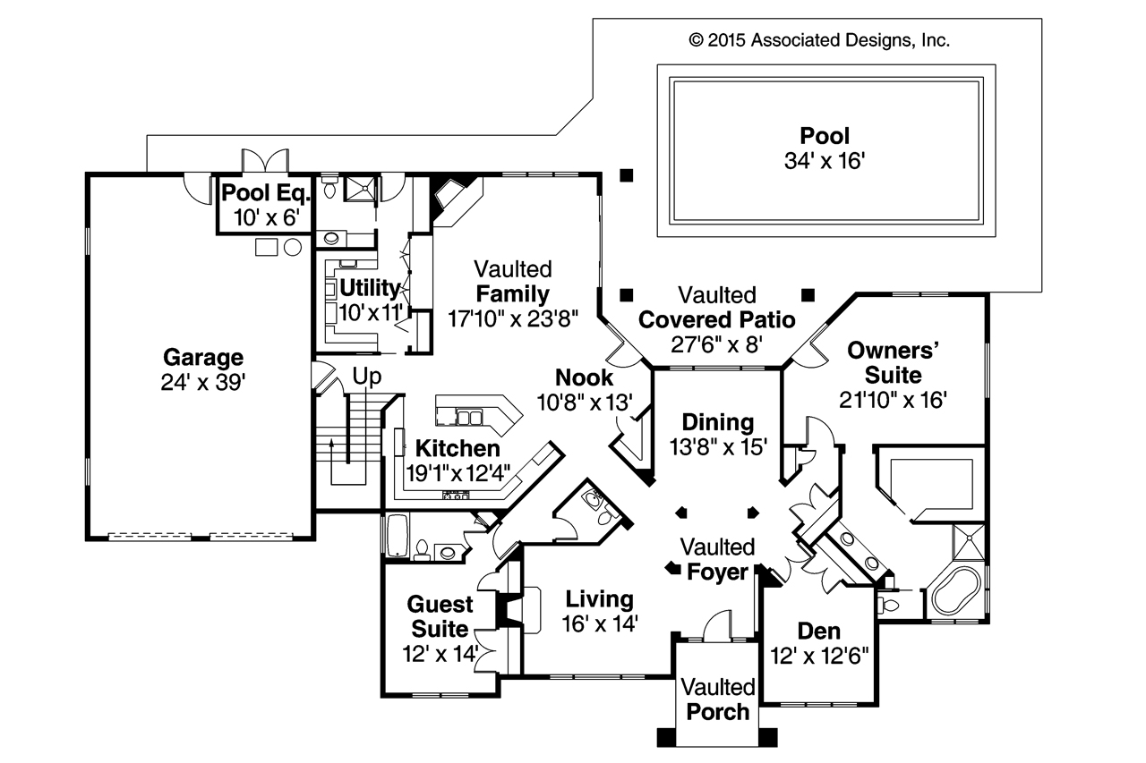 Tuscan house plans meridian 30 312 associated designs for Floor plans
