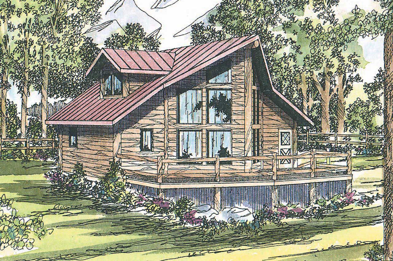 Sylvan 30 023 a frame house plans cabin vacation for A frame log home plans