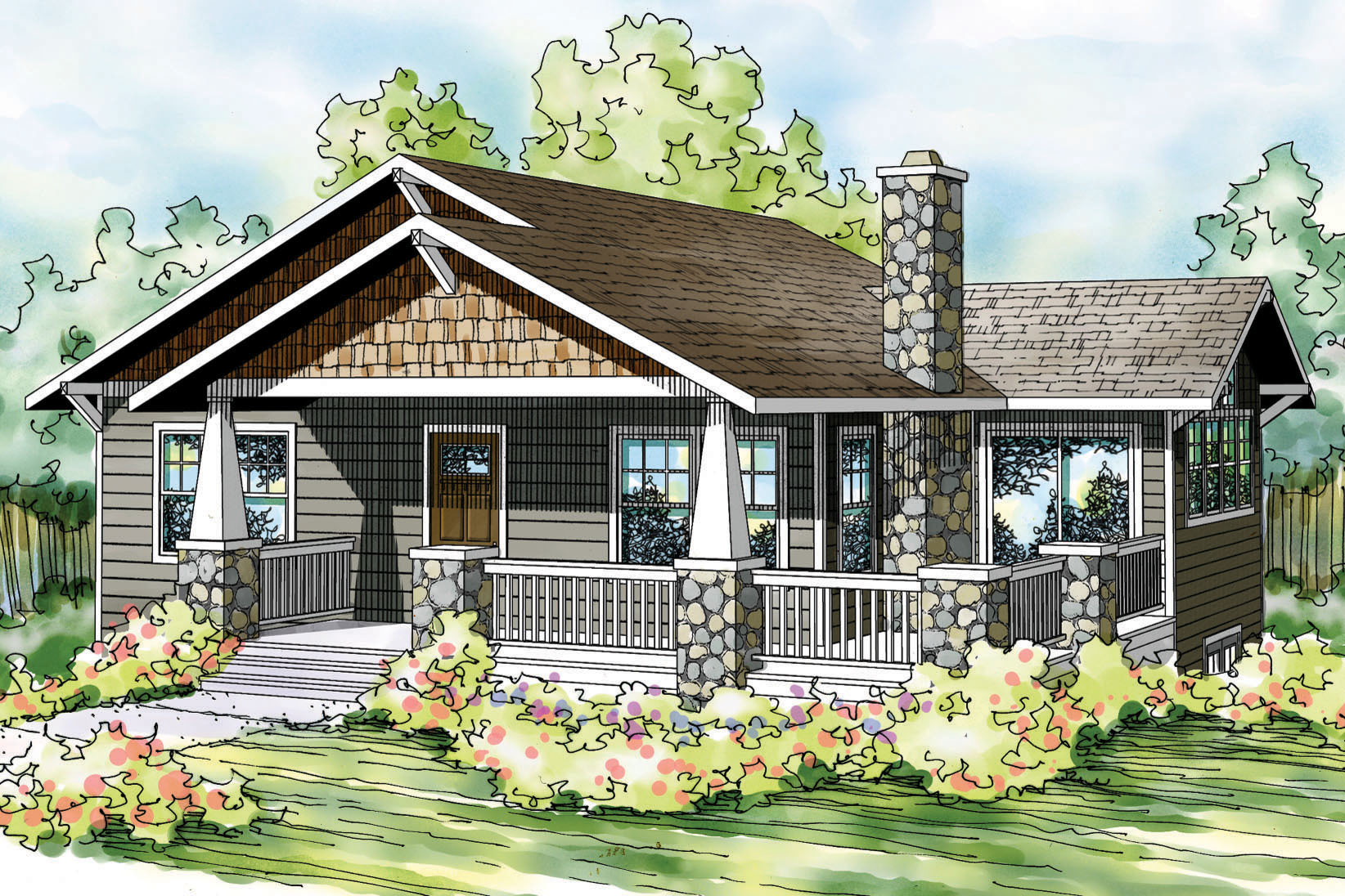 bungalow house plan lone rock 41 020 front elevation - Rock House Plans