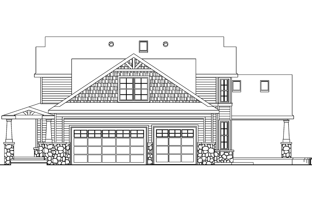 Building Elevation Plan Part - 29: Bungalow House Plan - Tillamook 30-519 - Right Elevation ...