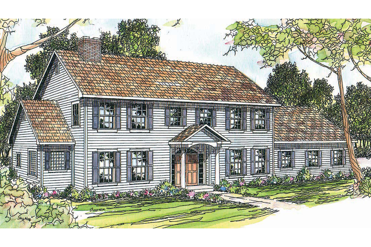 Colonial house plans kearney 30 062 associated designs for Colonial garage