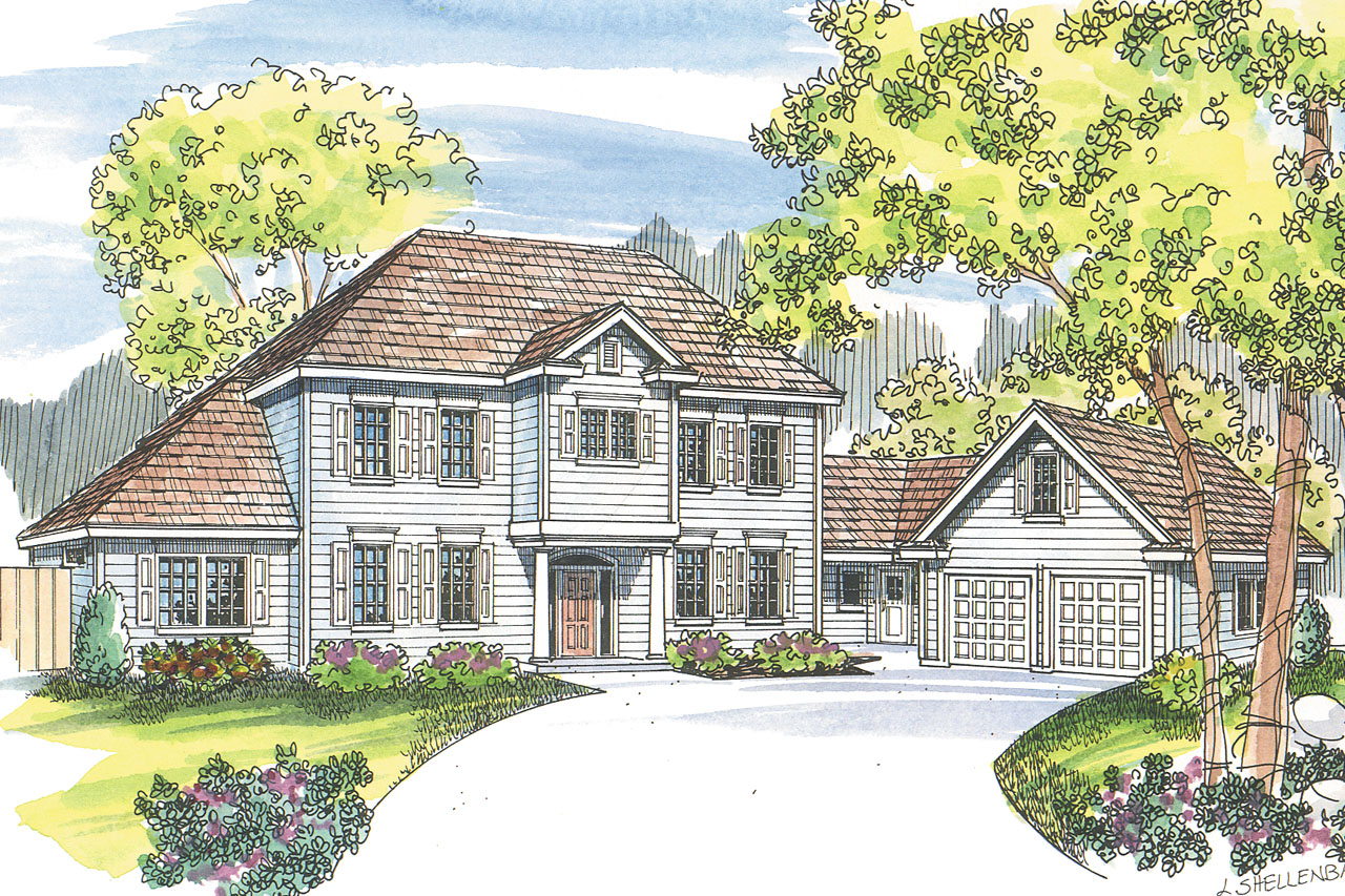 Colonial Front Elevation Designs : Colonial house plans lansford associated designs