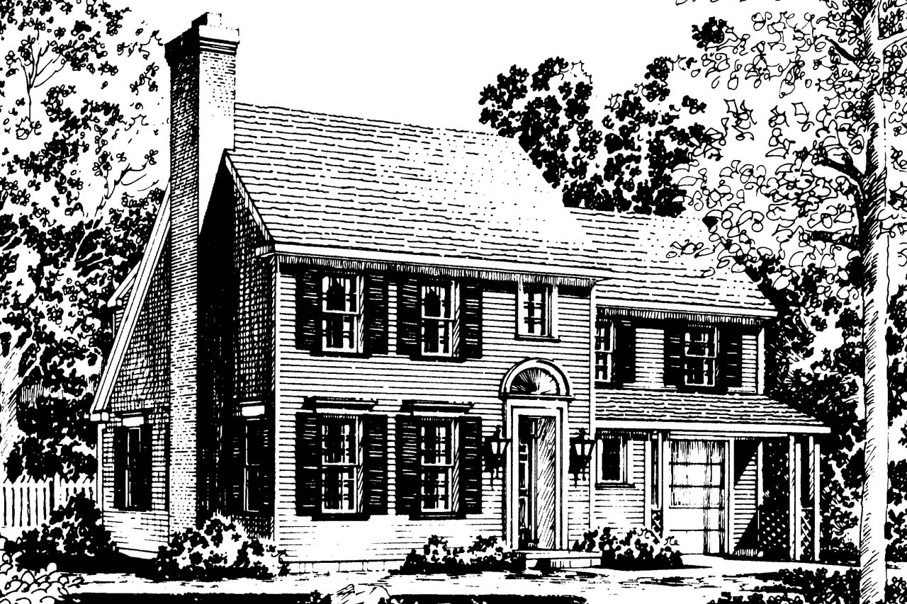 Front Elevation Colonial : Colonial house plans perrysburg associated designs