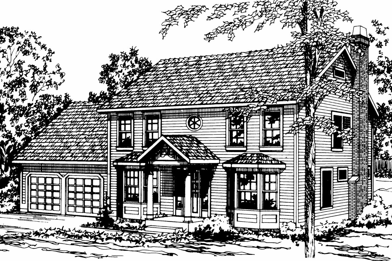 Colonial Front Elevation Designs : Colonial house plans westport associated designs