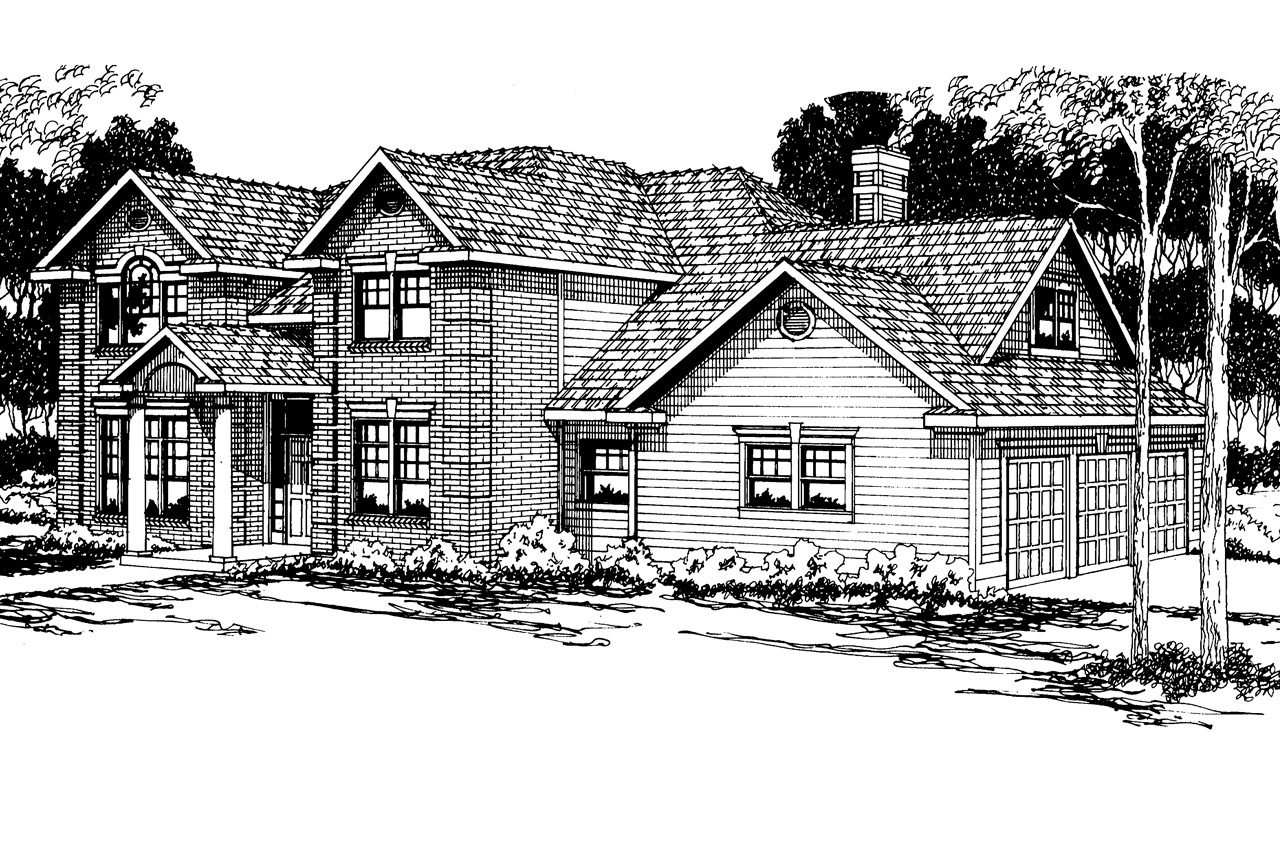 Front Elevation Colonial : Colonial house plans willmar associated designs