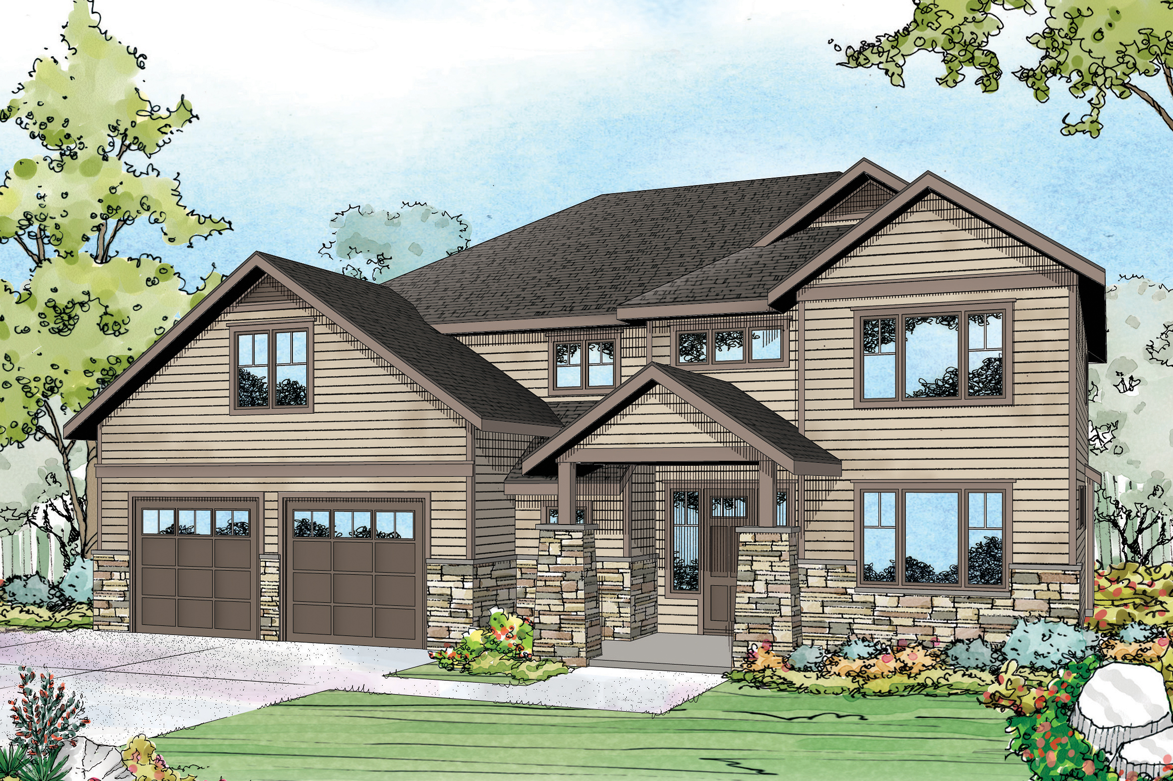 Craftsman house plans forest grove 30 954 associated for Forest house plans