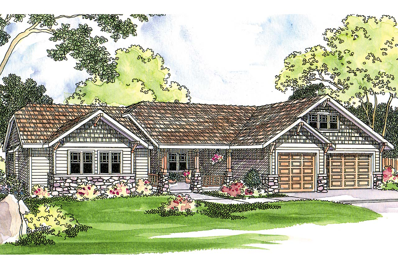 Craftsman house plan pinedale 30 228 front elevation Craftsman farmhouse plans