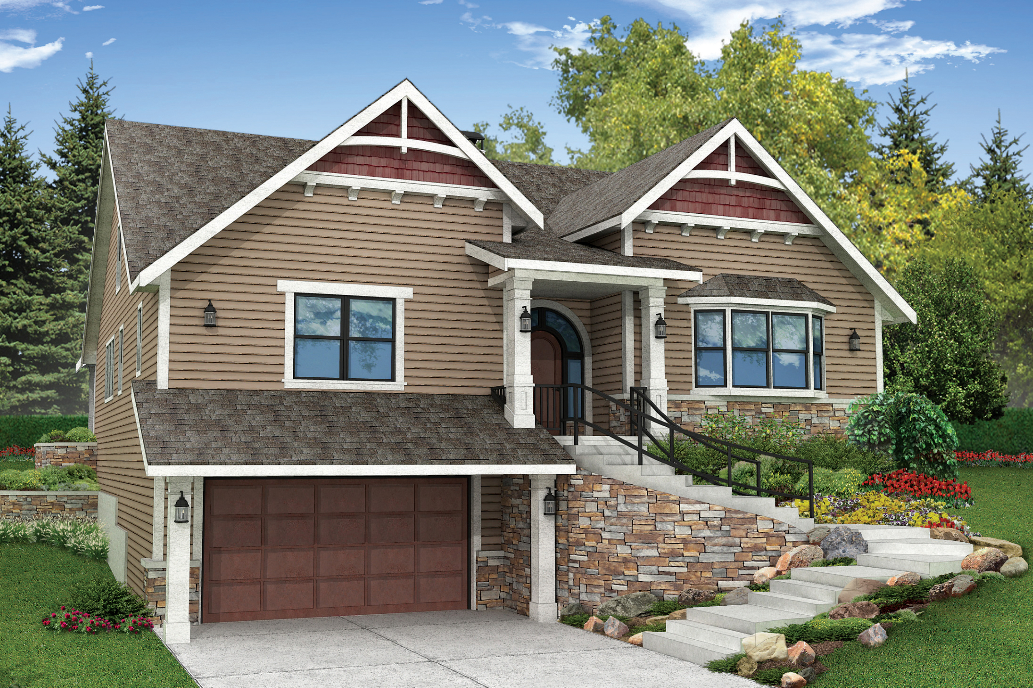 Craftsman house plans springvale 30 950 associated designs for Craftsman house plans with side entry garage