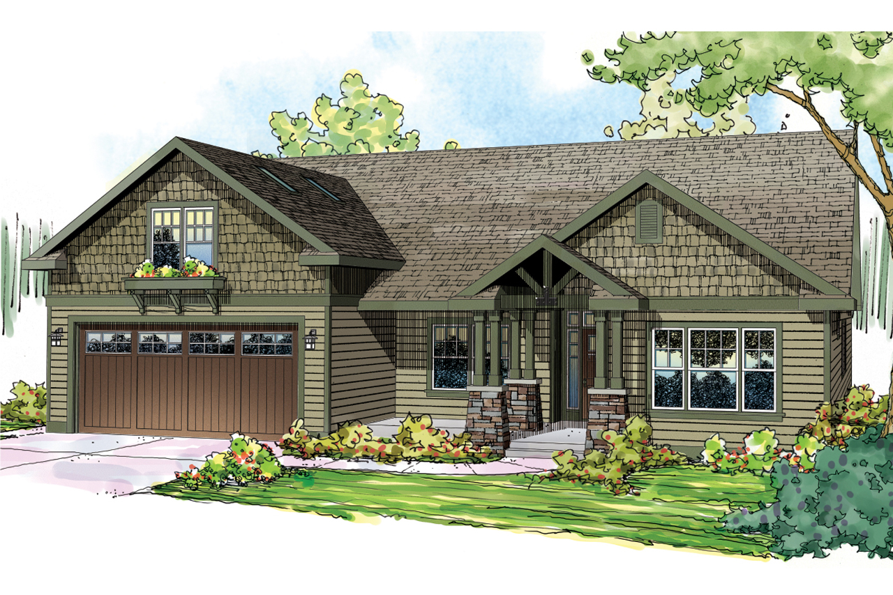 Craftsman house plans sutherlin 30 812 associated designs for Ranch bungalow plans