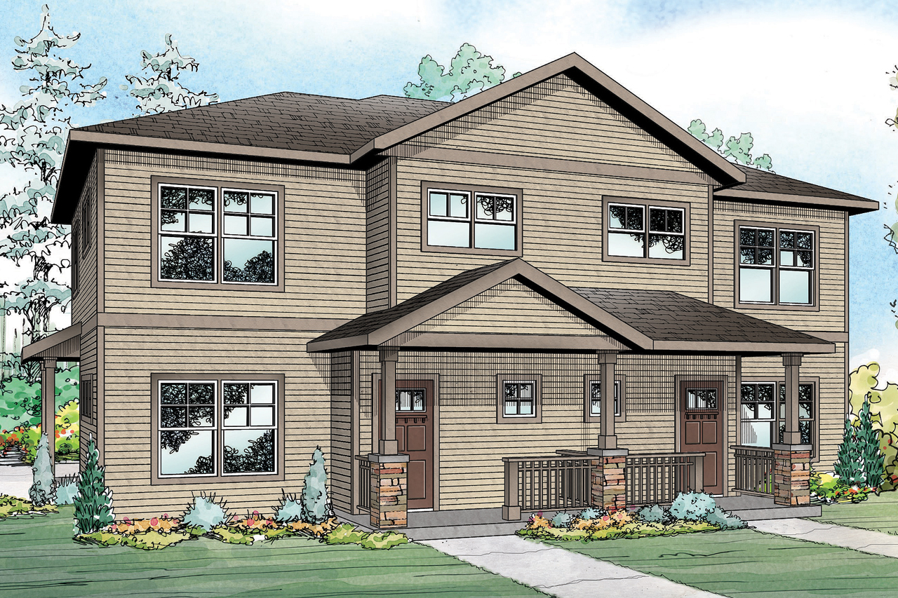 Front Elevation For Duplex : Country house plans hendrick associated designs