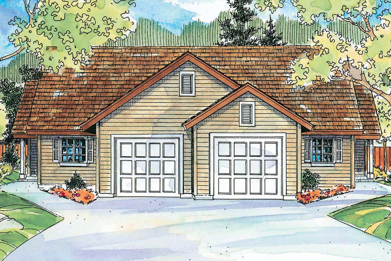Duplex house plans with garage in the middle for Duplex cottage plans