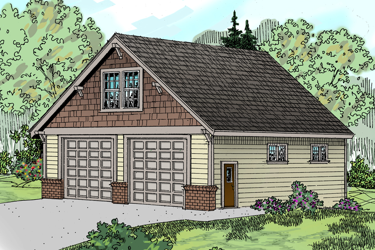 Front Elevation Garage : Craftsman house plans garage w living
