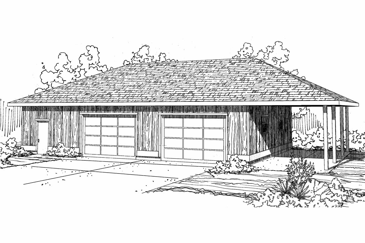 Front Elevation Plan With Garage : Traditional house plans car garage associated