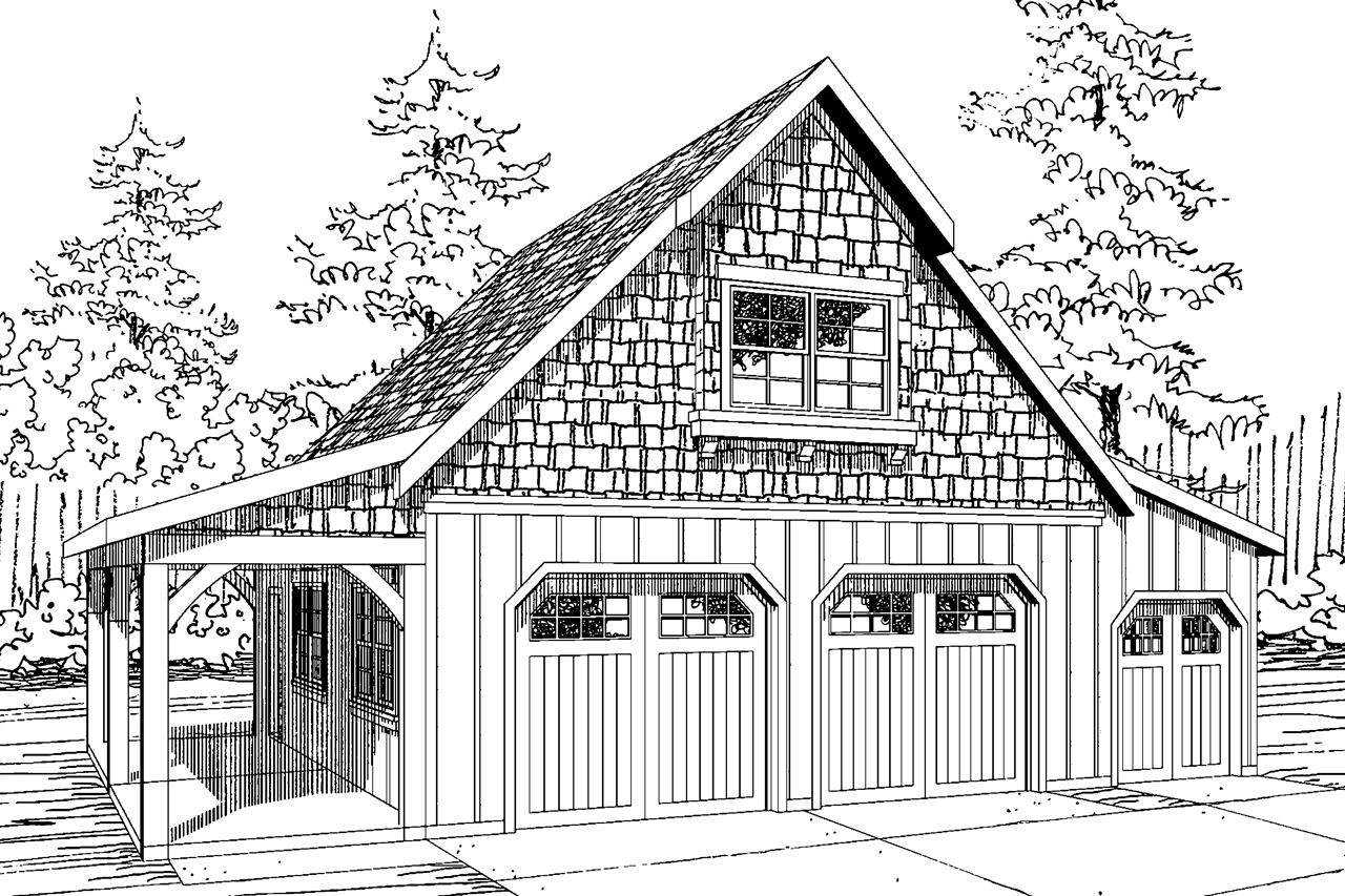 Front Elevation Plan With Garage : Craftsman house plans car garage w attic