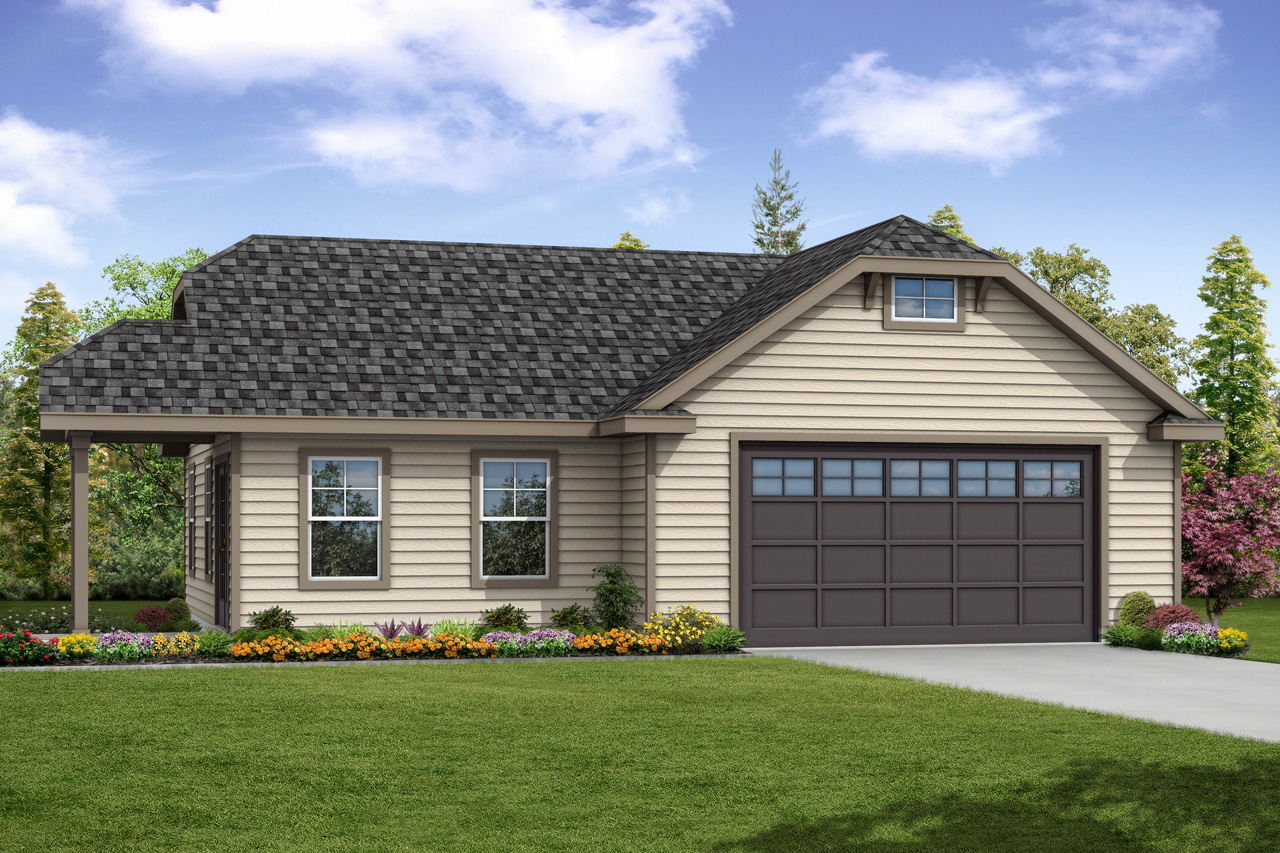 Front Elevation With Garage : Traditional house plans garage w studio