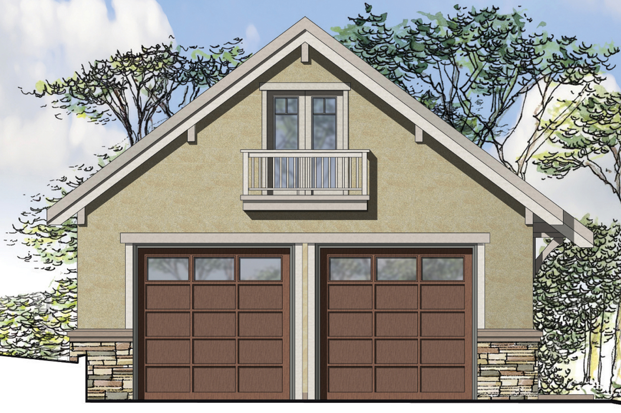 Front Elevation With Garage : European house plans car garage associated