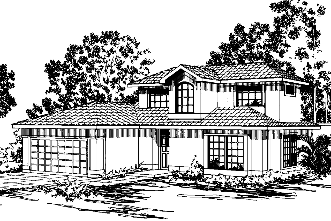 Mediterranean house plans malibu 11 054 associated designs for Mediterranean elevation