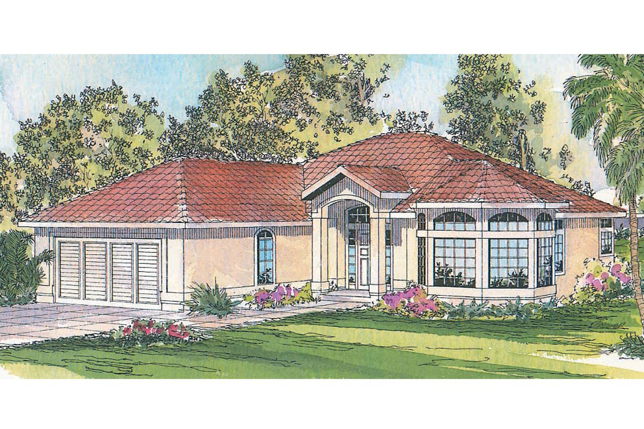Mediterranean house plans velarde 11 051 associated for Mediterranean elevation