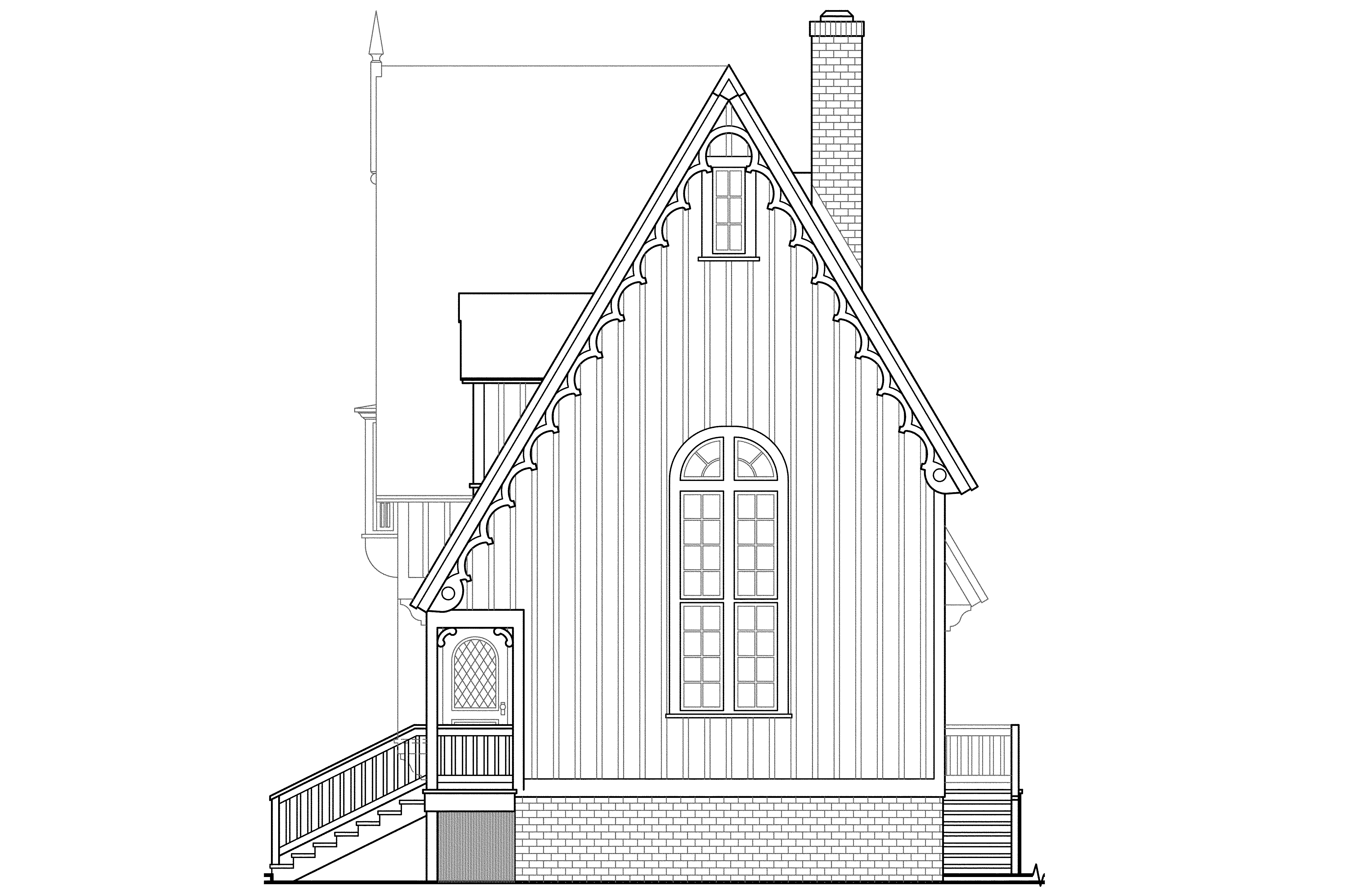 victorian house plans langston 42 027 associated designs narrow lot house plan langston 42 027 left elevation