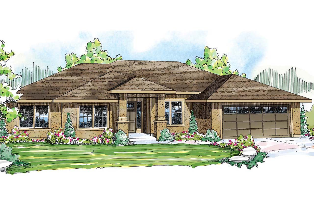 prairie style house plan crownpoint 30 770 front elevation - Prairie Style Home Designs