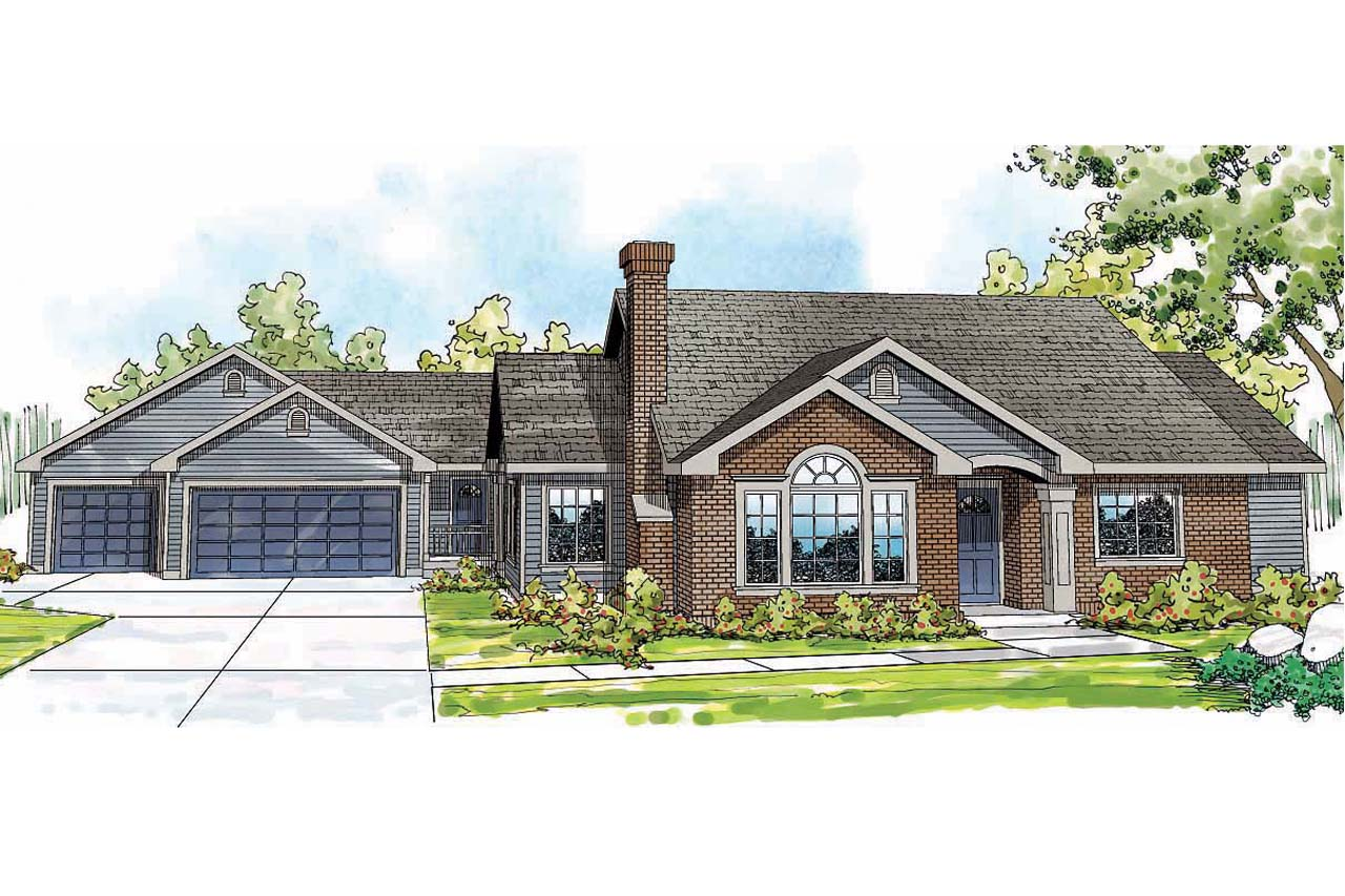 Rambler house plans country house plans with porches for Detached garage utah