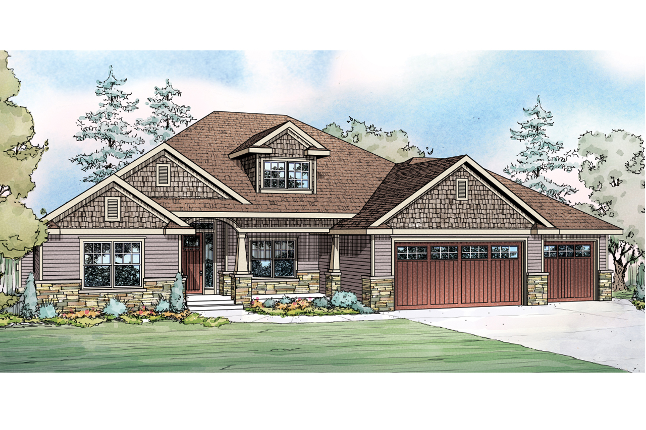 Floor Front Elevation Garage : Ranch house plans jamestown associated designs