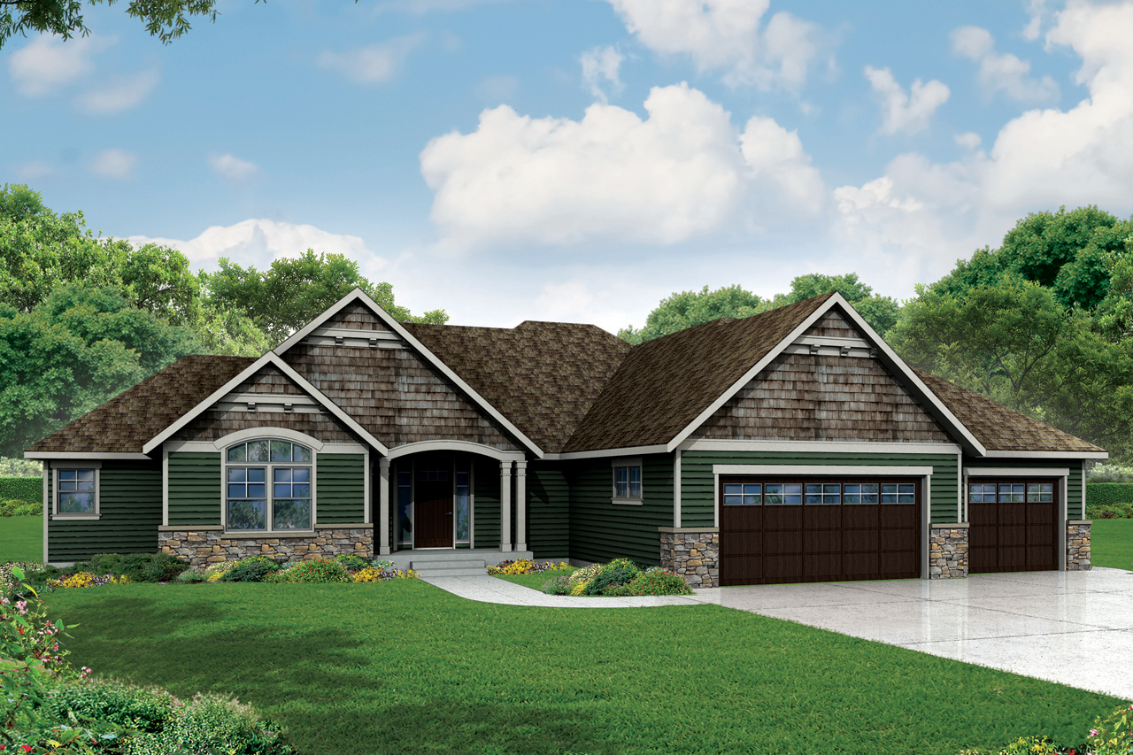 Ranch house plans little creek 30 878 associated designs for Garage style homes