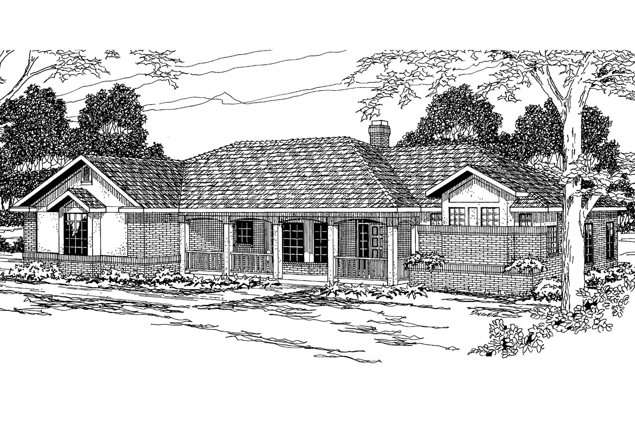 Atomic Ranch Elevation House Plan : Ranch house plans nueces associated designs