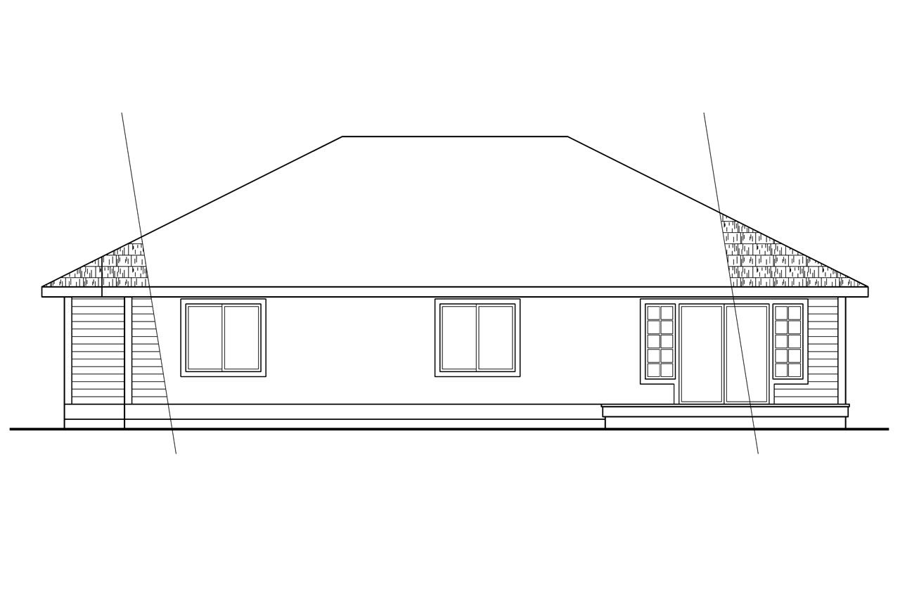 Ranch house plans baldwin 30 019 associated designs for What is rear elevation