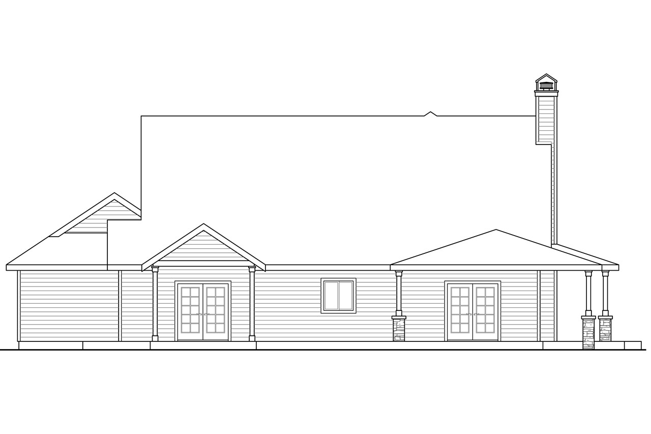 Rear Elevation Plan : Country house plans anchorage associated designs