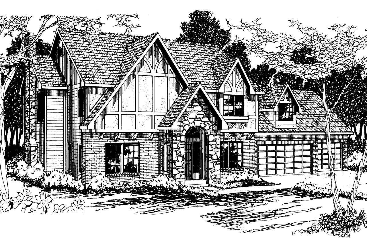 Tudor house plans livingston 30 046 associated designs for Tudor cottage plans