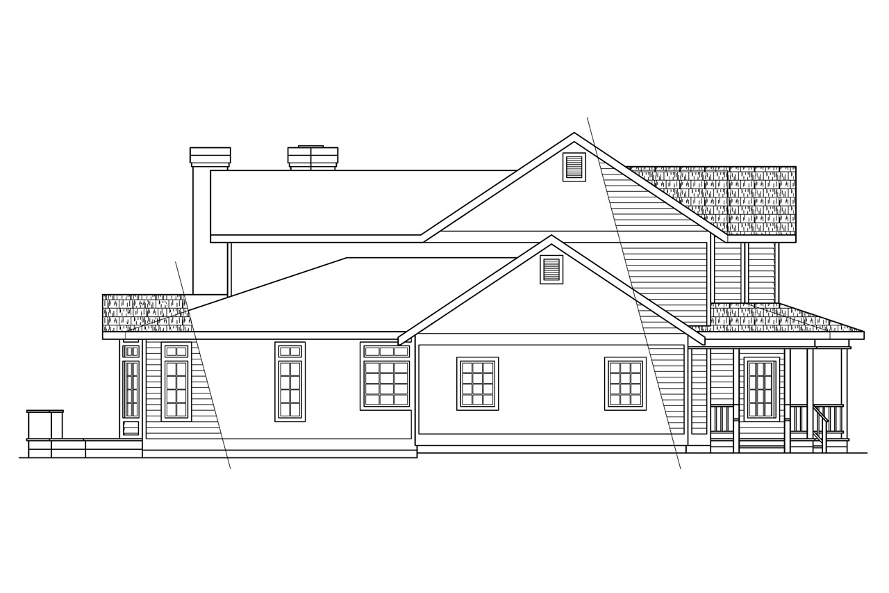 Left Elevation Plan : Country house plans shelburn associated designs