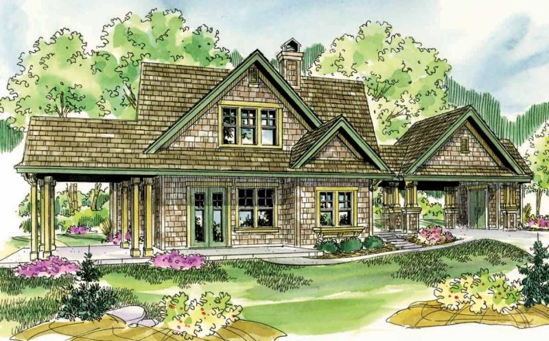 Houzz one story shingle style lake home joy studio for Shingle style cottage plans