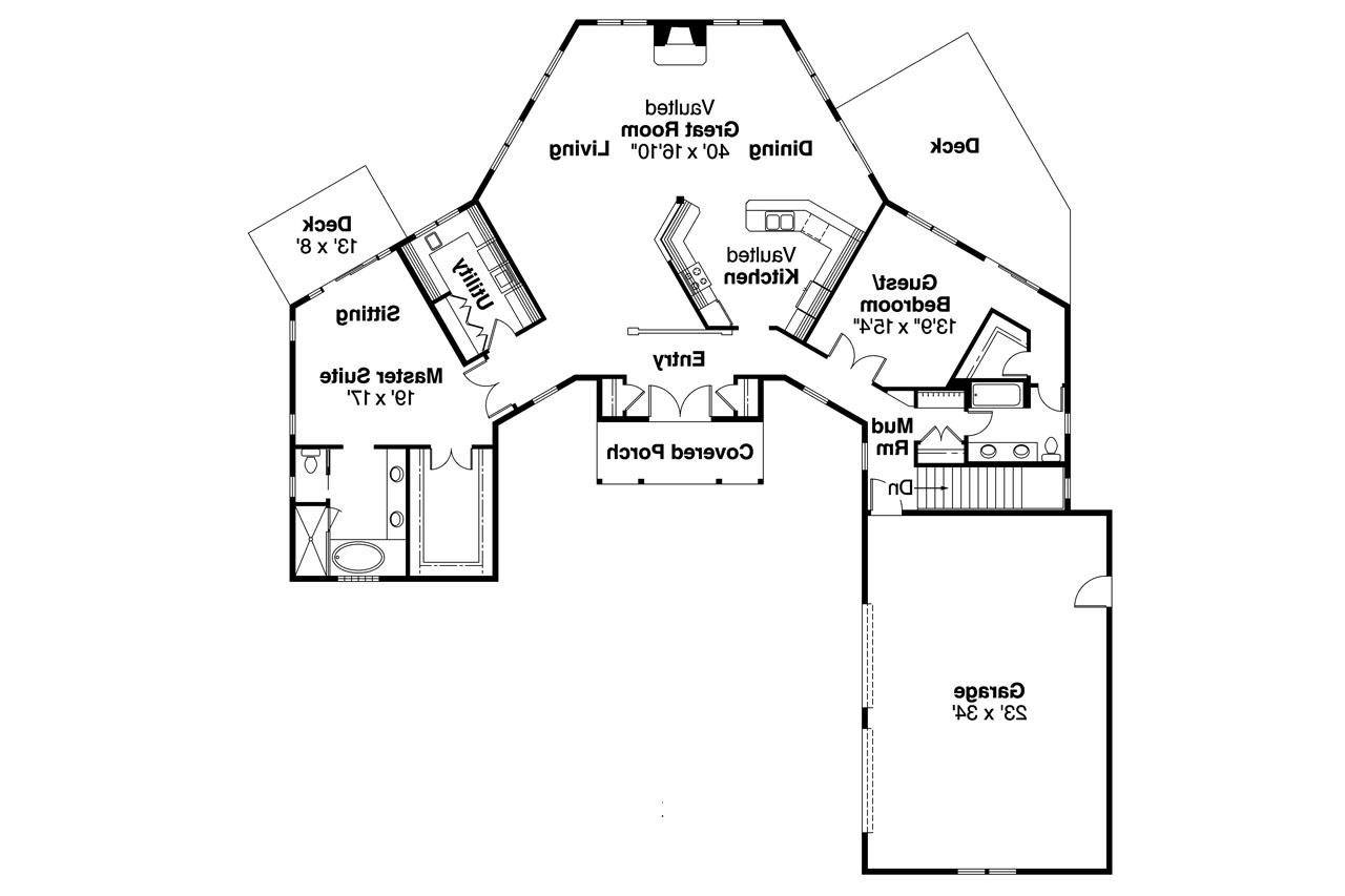 craftsman house plan treyburn 10 497 floor plan - Pie Shaped Lot Home Plans