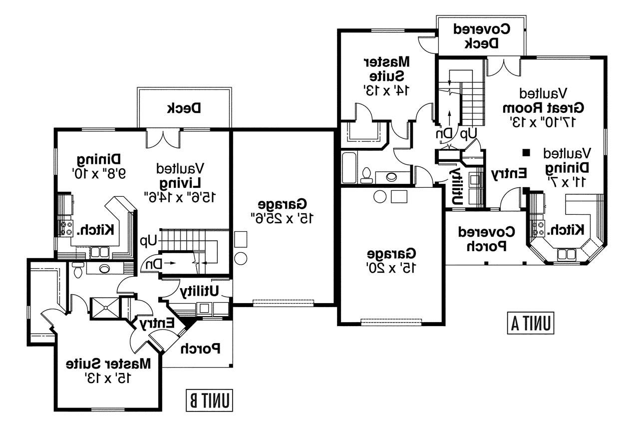Country house plans carmichael 60 014 associated designs for Up down duplex floor plans