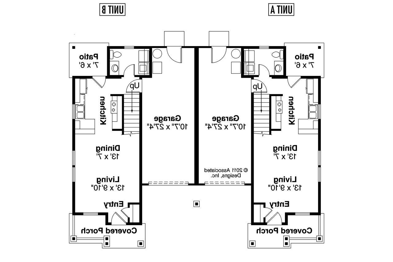 Craftsman house plans rothbury 60 016 associated designs for 2 bedroom 1 bath duplex floor plans