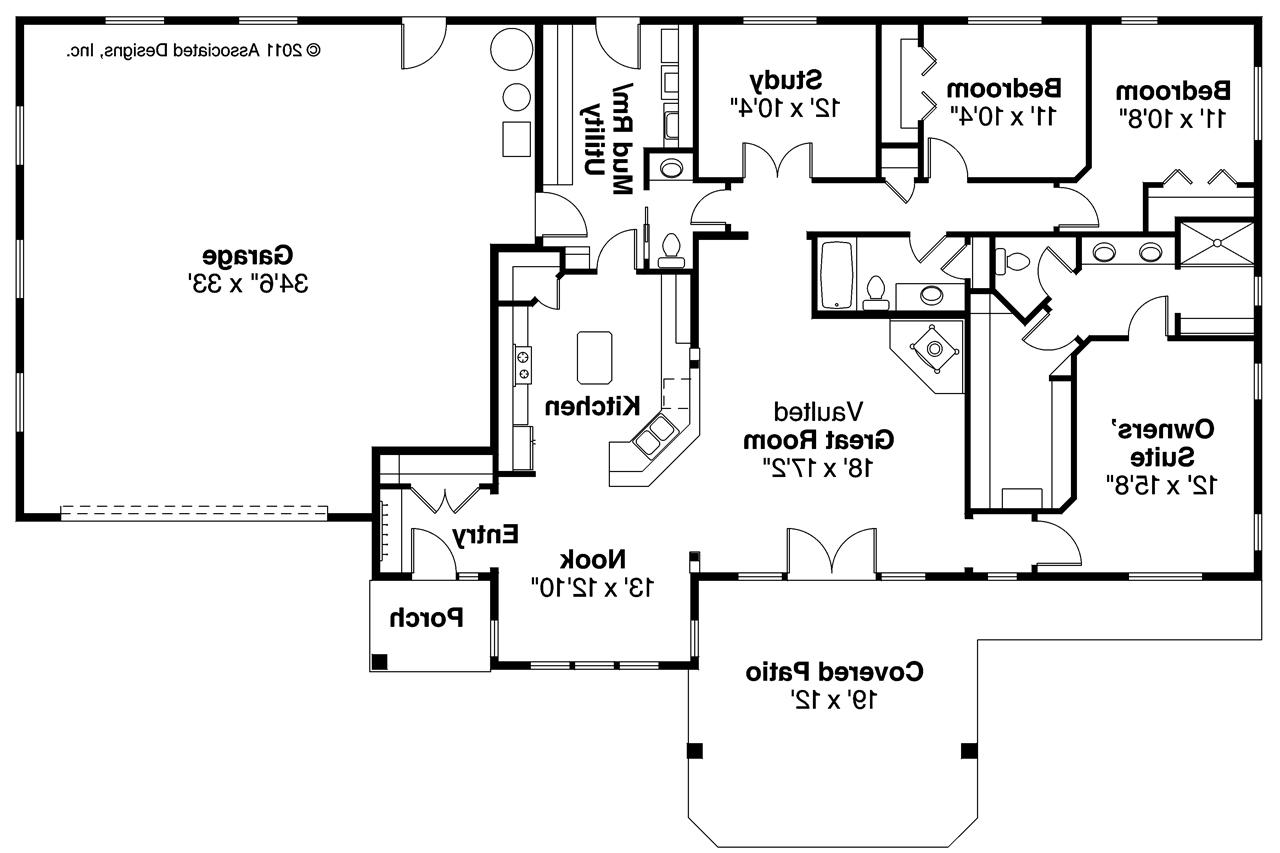 ... Ranch House Plan   Elk Lake 30 849   Floor Plan