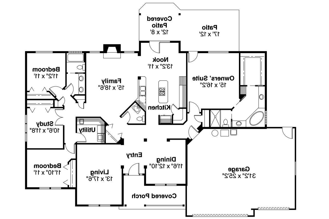 Ranch house plans pleasanton 30 545 associated designs for Ranch style floorplans