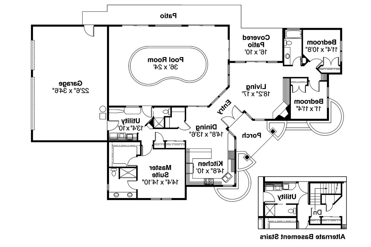 Ranch house plans williston 30 165 associated designs for Swimming pool floor plan