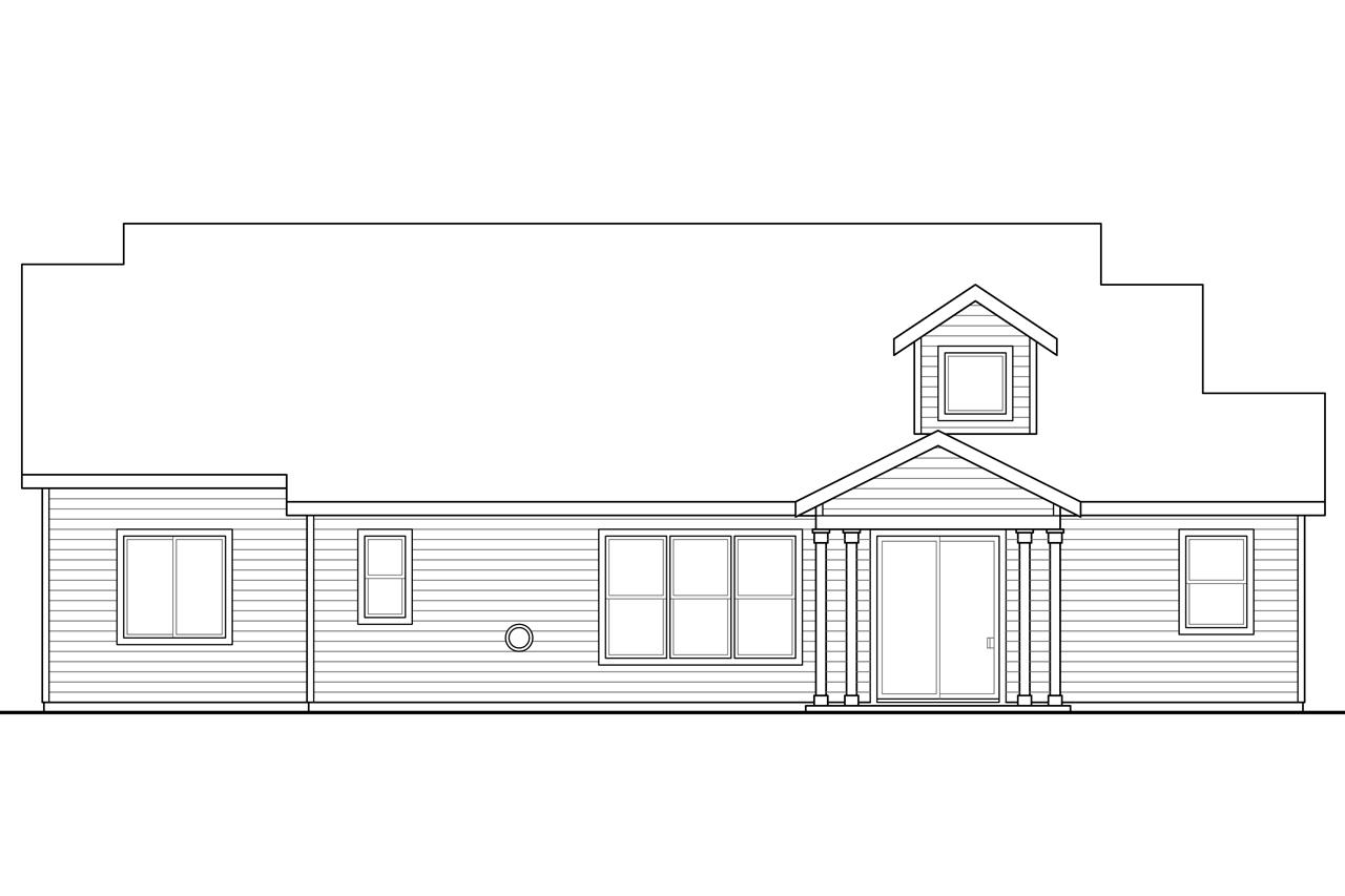 Craftsman house plans azalea 31 028 associated designs for What is rear elevation