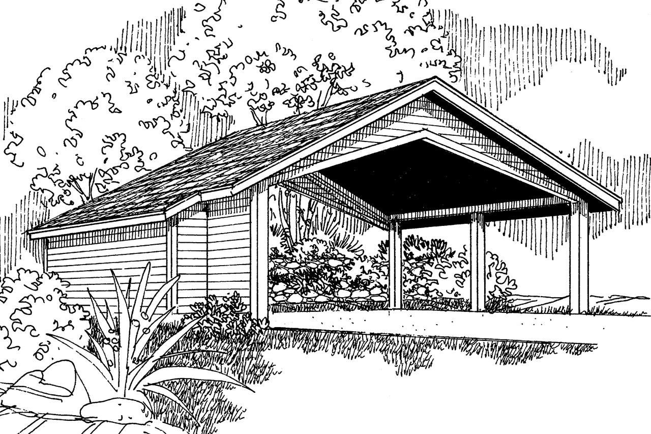 Traditional House Plans Carport W Storage 20 048