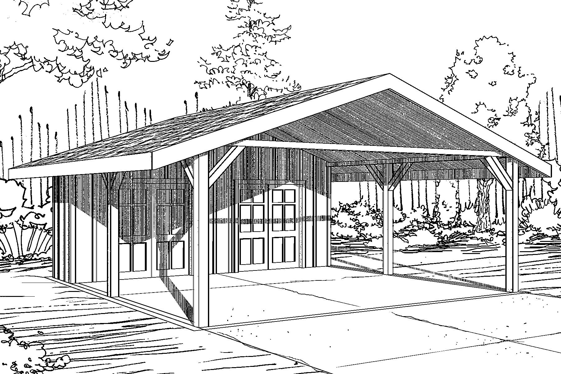 Traditional House Plans - Carport 20-094 - Associated Designs