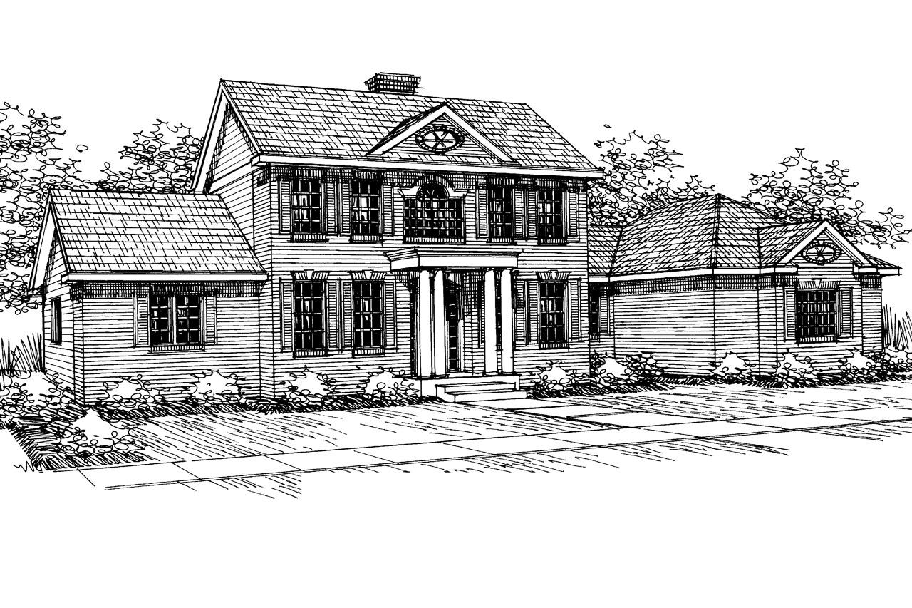 Colonial Front Elevation : Colonial house plans cobleskill associated designs