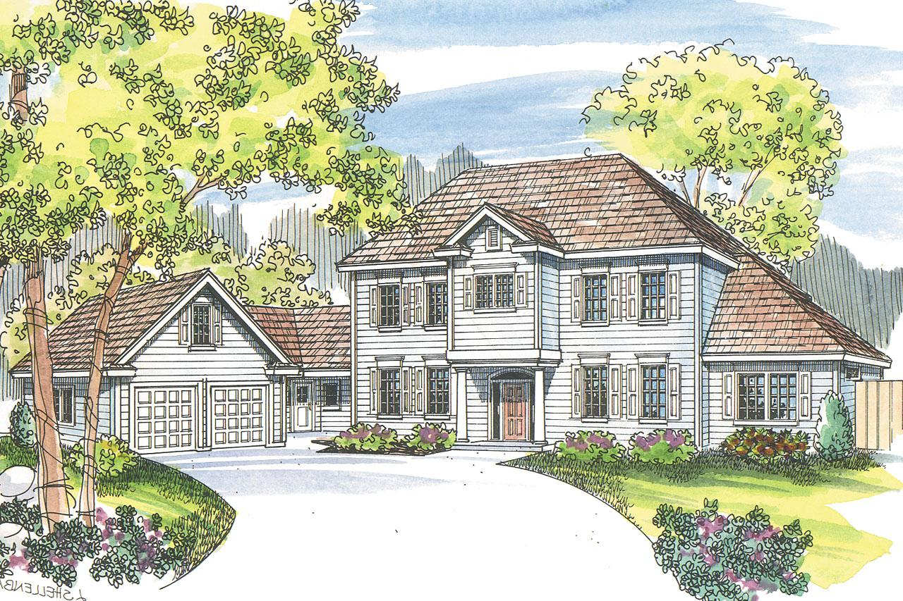 Front Elevation Colonial : Colonial house plans lansford associated designs