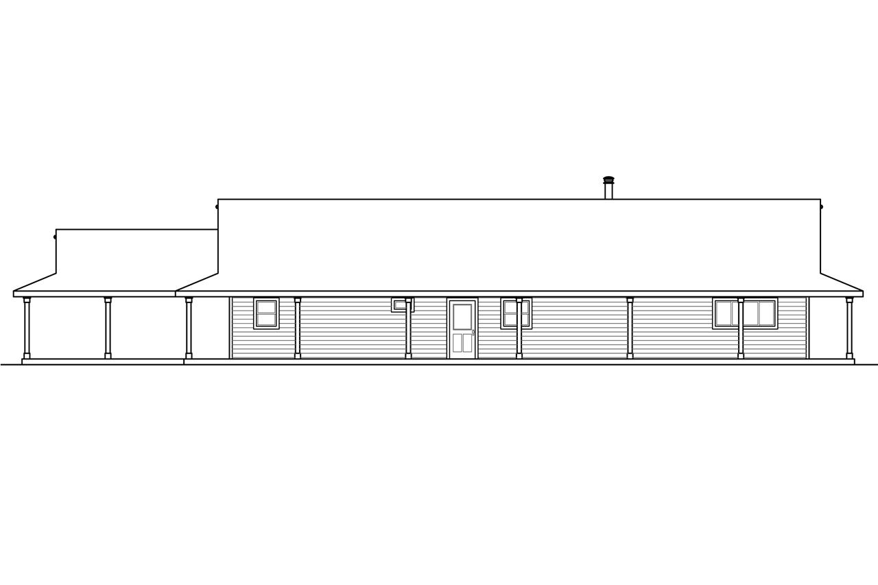Rear Elevation Plan : Ranch house plans madrone associated designs